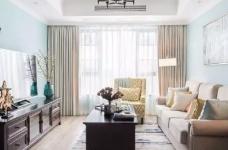 美式风格的装修案例,大面积惬意的蓝,配以唯美不失质感的软装搭配,让家顿时变成一个安心的避风港,将浮华和喧嚣隔绝于门外。图_1