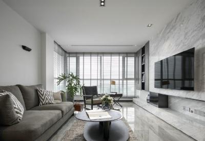116㎡黑白灰现代风格,简洁造型而不简单!