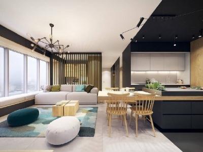 超酷的现代风,经典黑白和木质元素完美融合!