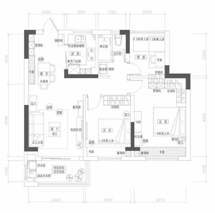 82m²现代美式小三房,清新优雅浪漫~