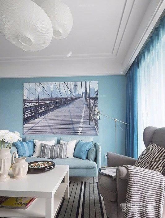 浅淡蓝色卧室背景墙,营造特色清爽气息
