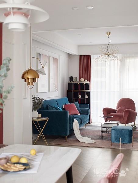 色彩明艳的105平现代简约时尚3居
