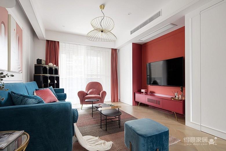 色彩明艳的105平现代简约时尚3居图_1