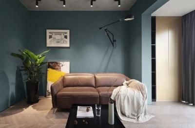 90㎡现代极简两居室装修设计,蓝色与水泥灰的轻工业风质感,年轻人的最爱。 