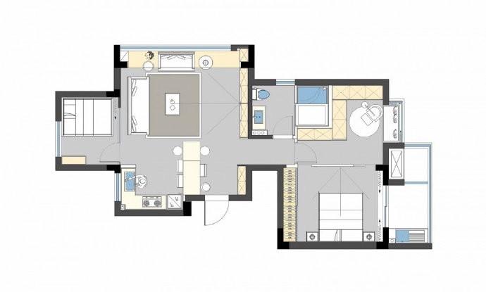 89㎡简约现代风二居室装修设计,喜欢这种惬意休闲的舒适图_2