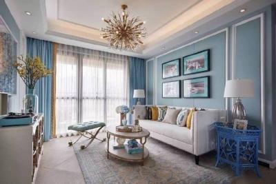 简约美式风格家居装修设计,色调搭配和舒服,优雅浪漫的蓝调空间
