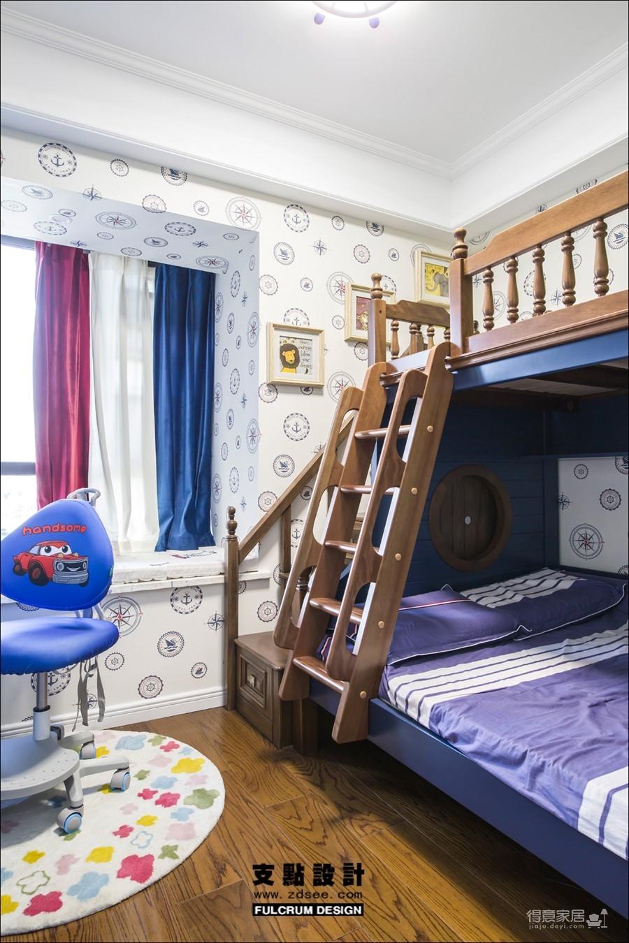 潋一室幽蓝,守一室繁华——133平现代美式图_6