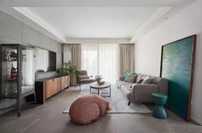 105㎡简约混搭风格家居,灰色与原木色总是那么搭,舒服