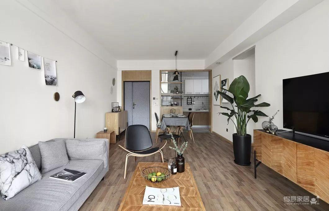 80平现代简约两居室,原木风好温暖!图_1