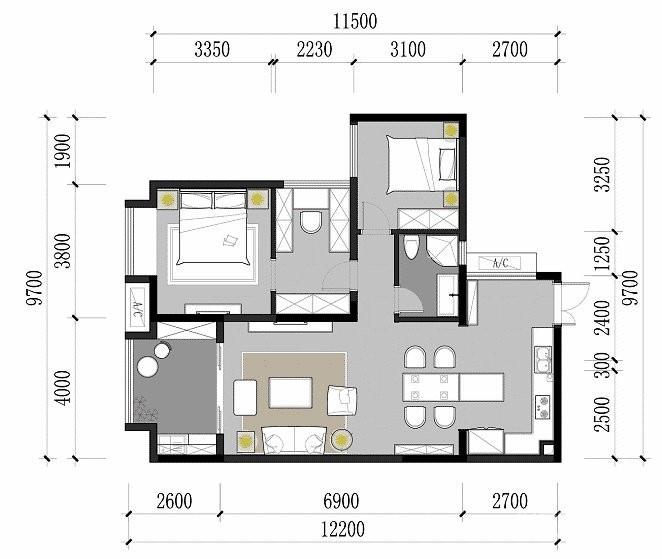 80㎡咖色调·现代简约风格家居设计,就喜欢这种细腻质感的氛围! 图_2