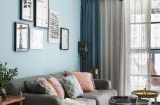 80㎡温馨少女心的家,简约时尚小北欧二居室,好喜欢这个蓝色!图_3