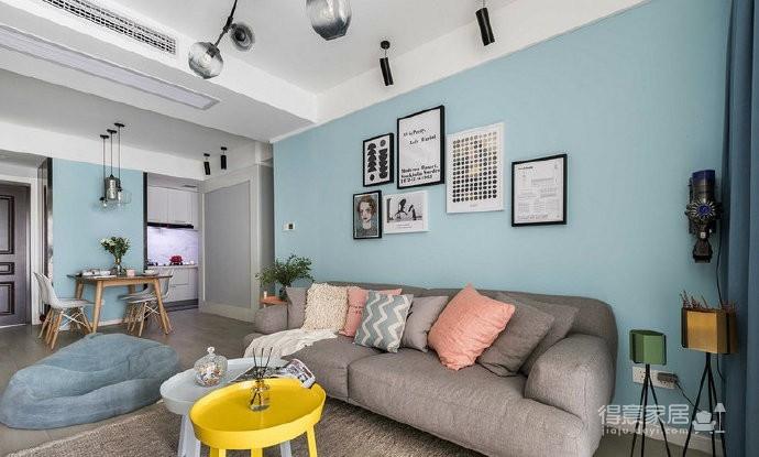 80㎡温馨少女心的家,简约时尚小北欧二居室,好喜欢这个蓝色!图_1