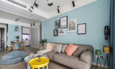 80㎡温馨少女心的家,简约时尚小北欧二居室,好喜欢这个蓝色!