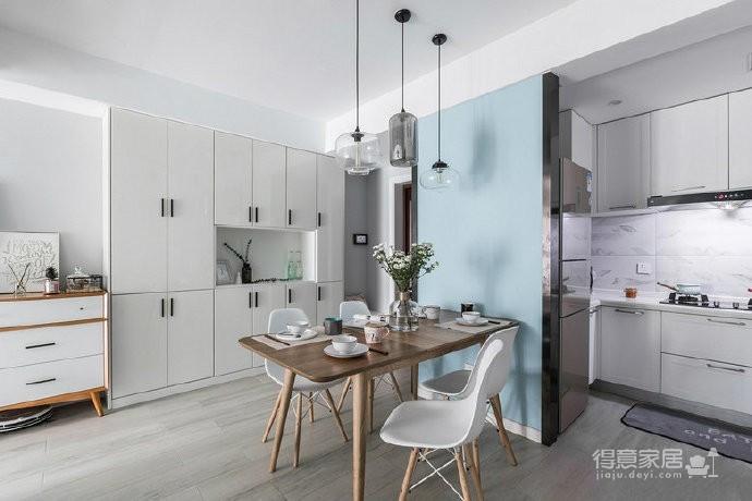 80㎡温馨少女心的家,简约时尚小北欧二居室,好喜欢这个蓝色!图_4