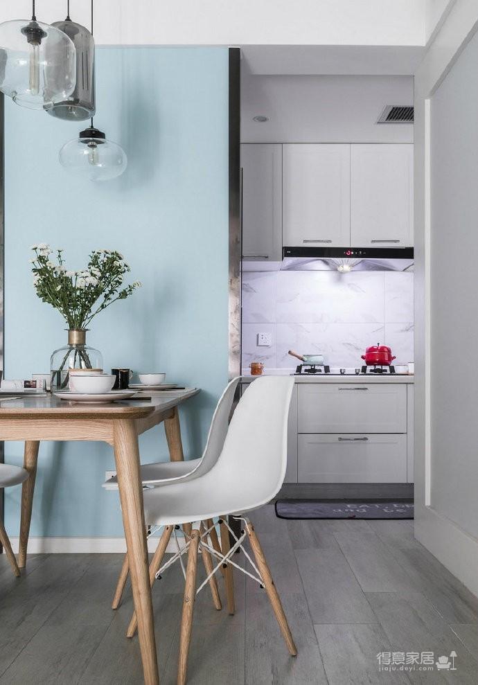 80㎡温馨少女心的家,简约时尚小北欧二居室,好喜欢这个蓝色!图_5