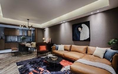 80㎡咖色调·现代简约风格家居设计,就喜欢这种细腻质感的氛围!