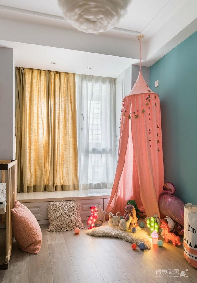 80㎡温馨少女心的家,简约时尚小北欧二居室,好喜欢这个蓝色!图_6