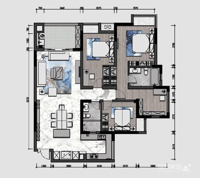清新现代美式风格家居装修设计,电视墙和餐厅墙纸都好喜欢!