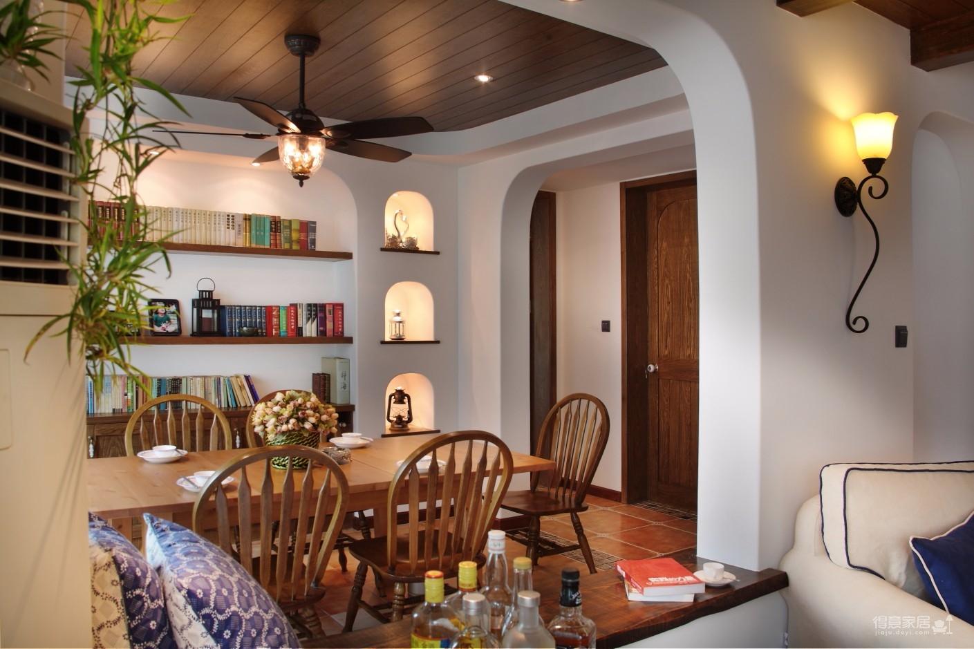 精选案例-地中海风格客厅餐厅展示图_6