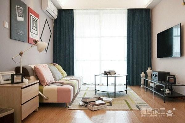 77平简约混搭二居室,几何图案搭配纯净基调图_1