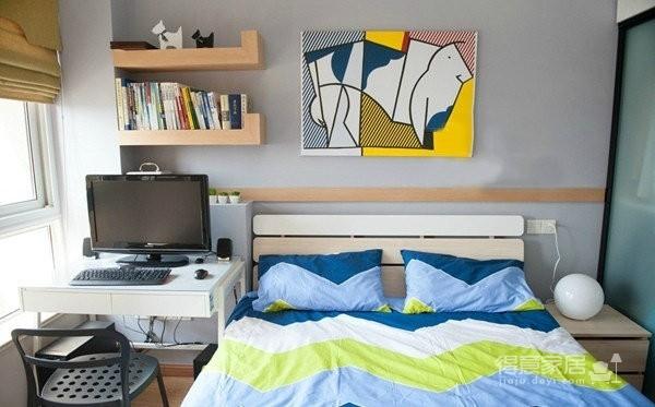 77平简约混搭二居室,几何图案搭配纯净基调图_6