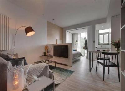 43平的工业风小户型公寓,水泥墙带来独特质感