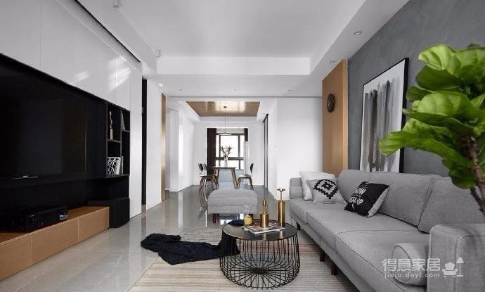 118平现代简约三居室,黑白灰调舒适阳光房图_3