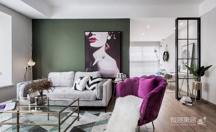 一把紫色椅子,一面绿墙,一副画,一个动感的空间就被点缀了出来~~图_6