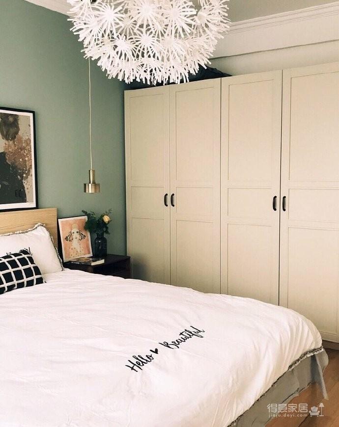 130平北欧混搭,卧室是灰绿色配白色;客厅是深绿色沙发背景墙配上浅薄荷绿,清新舒适图_6