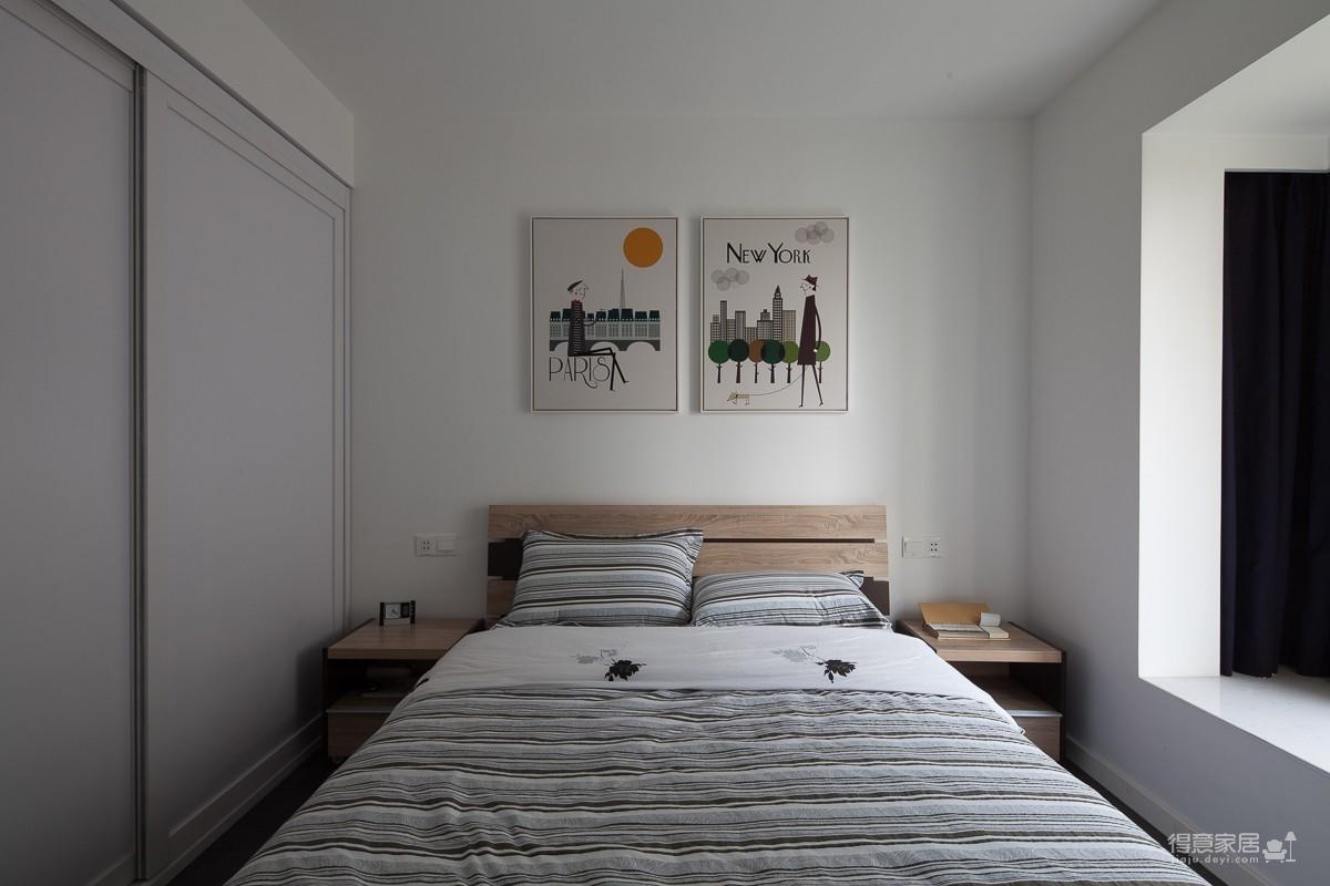 没有复杂的软装设计,用吧台做隔断,让卧室拥有强大收纳