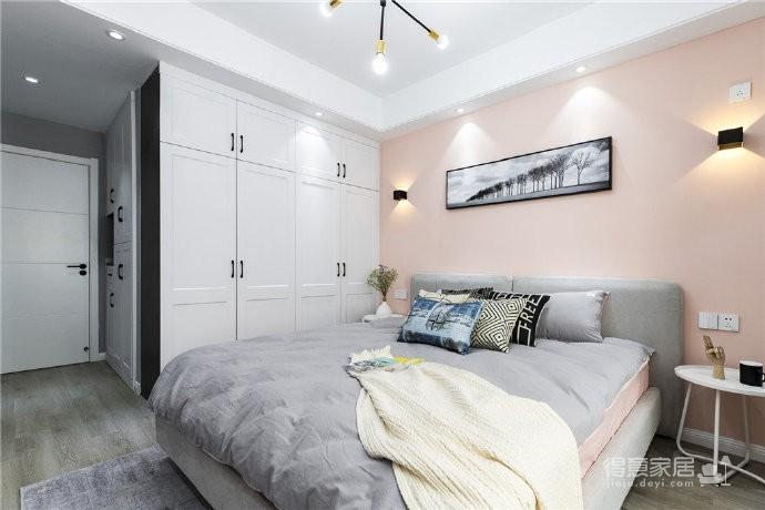 现代风家居,黑白灰为主色、用粉橘作为配色