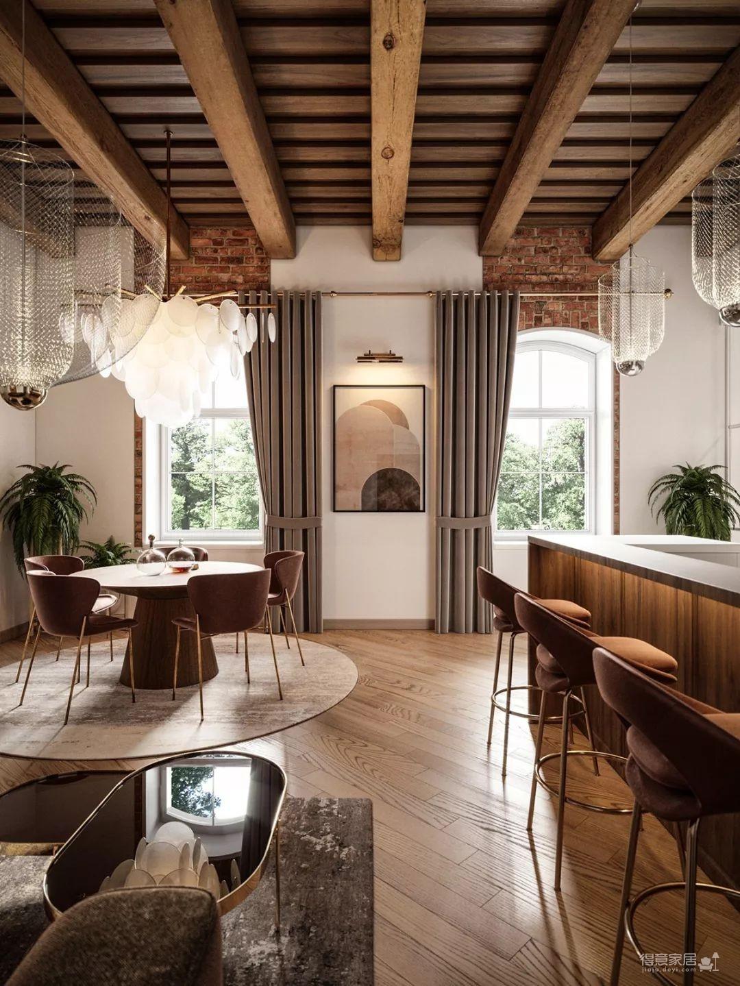 老旧的木质屋顶,在现代轻奢的居室中演绎别样风情图_3