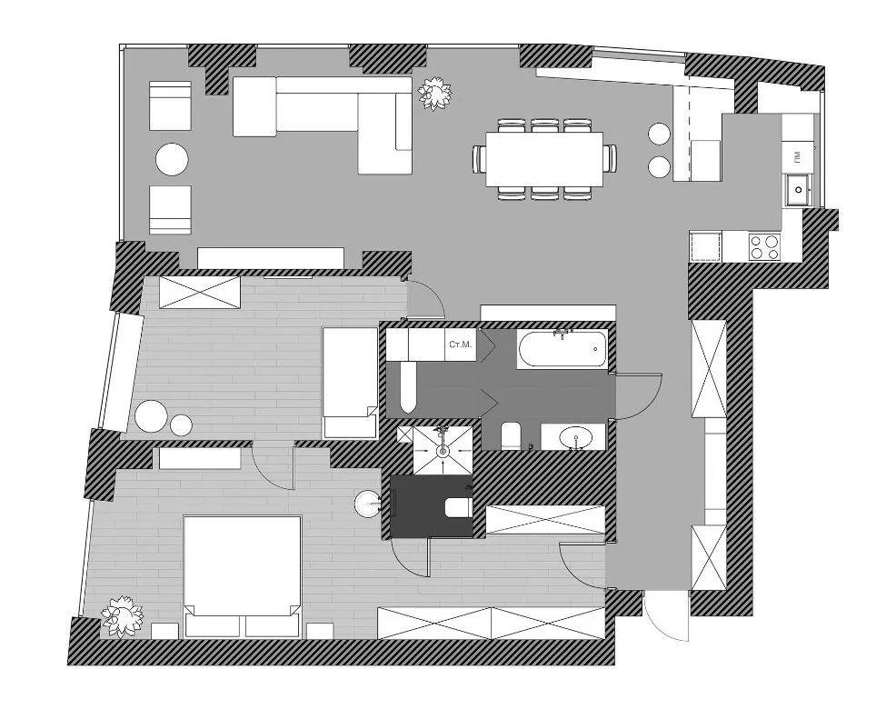 117㎡ 轻工业公寓,层架这么放,百搭又高级!图_2
