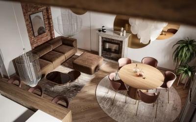 老旧的木质屋顶,在现代轻奢的居室中演绎别样风情