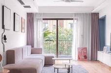 120平北欧风,阳台橘黄色砖和绿植的布置让空间充满了活力,生机勃勃图_1