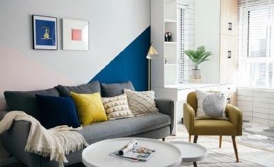 清新北欧风,客厅里黄色的小抱枕是点睛之笔,一下提亮了空间的色彩性 
