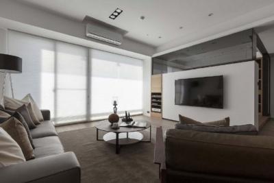 简约现代风格之家,温暖的木纹与柔和的灰色营造了一个非常有质感的居室!