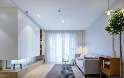 89平现代简约家装,空间围绕莫兰迪灰展开