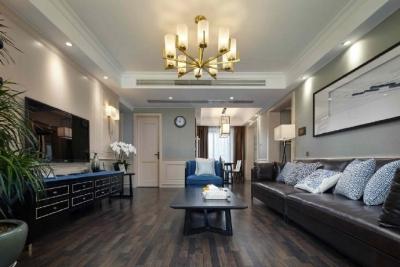 美式风格与东方元素的混搭,高级灰与经典蓝共同演绎了这个精致优雅的家! 