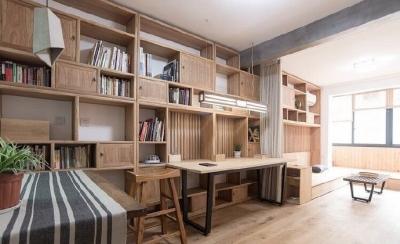 新中式风装修,客厅很棒,那一整面的柜子看着就赏心悦目,这样的中国风一点也不生硬