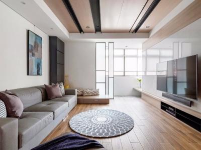 在简洁大方的基础上,搭配利落清爽的硬装,自然舒适的软装,结合轻柔的配色,布置了个轻松自在的家