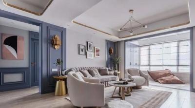 打通书房换上折叠门。通过各种材质与深浅色调搭配,打造轻奢高颜值居家空间。