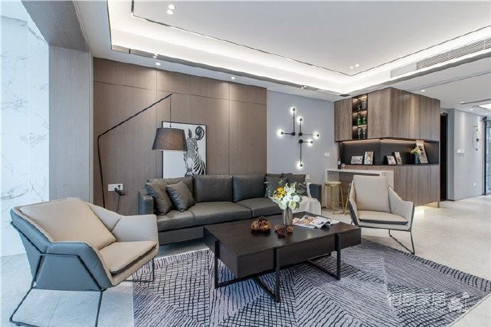 155平现代轻奢装修,客厅的设计确实奢而不华,线条感很强图_2