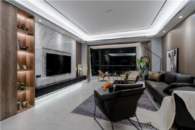 155平现代轻奢装修,客厅的设计确实奢而不华,线条感很强