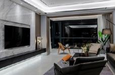 155平现代轻奢装修,客厅的设计确实奢而不华,线条感很强图_1
