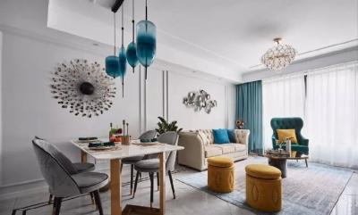 95㎡现代美式风三居室,很喜欢这个简约轻奢的浪漫舒适空间!