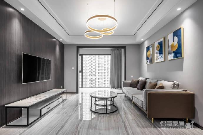 整体以高级灰为主色调,高频次使用金属色来增添轻奢质感,静谧蓝的加入更是注入了一丝优雅气息,再辅以黑色的稳重与白色的大气,整个空间浑然天成的色彩美学应运而生。113平米现代轻奢三居室图_1