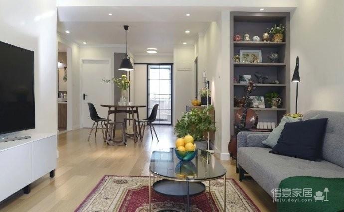 98㎡现代简约风格家居装修设计,温润又温馨之家! 图_1