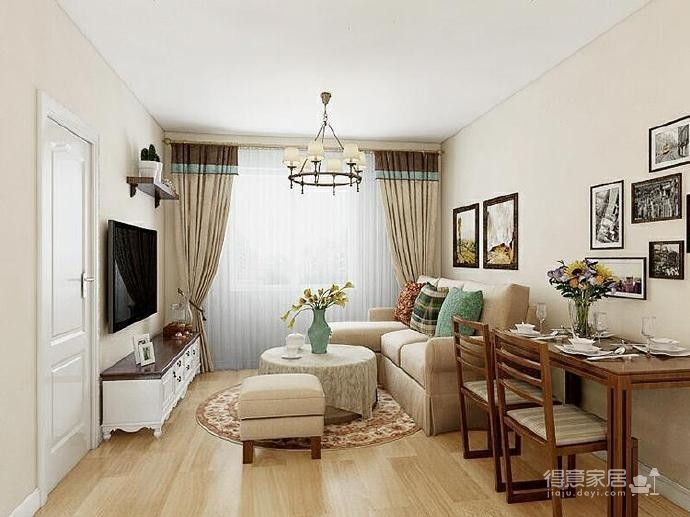 95㎡简欧家居,装饰上以传统风格为代表,结合现代元素图_1