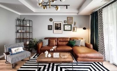 140平复古北欧风,墨绿和棕色搭配的家